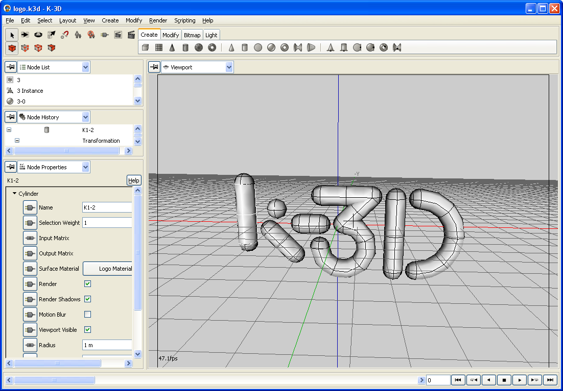 K3d software screenshot